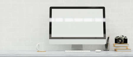 Computer monitor with mock-up screen on the desk with camera and stationery, 3D rendering, 3D illustration