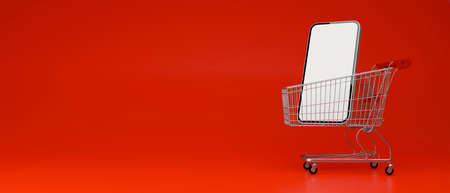 Smartphone with mock-up screen on cart isolated on red background, 3D render, 3D illustration 版權商用圖片