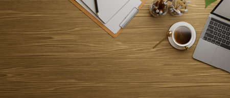 Top view of wooden table with laptop, coffee up and stationery, 3D rendering, 3D illustration