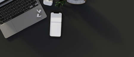 Top view of smartphone with mock-up screen, laptop, supplies and copy space, 3D rendering, 3D illustration