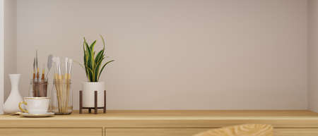 Craft table with copy space, paint tools and plant pot in home office, 3D rendering, 3D illustration