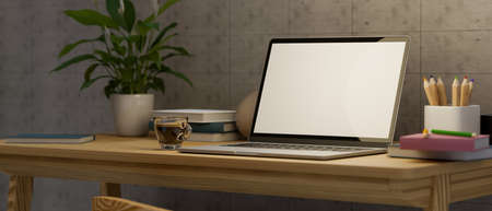 Modern simple home workspace with laptop blank screen mockup, stationery, coffee cup and decor on wooden desk. 3d rendering, 3d illustration
