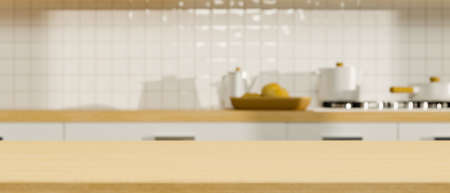 Close-up, Mock up space on wooden tabletop over blurred closeup minimalist kitchen interior in the background. 3d rendering, 3d illustration