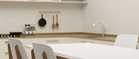 Closeup, Copy space for montage product on modern white dining table in white minimalist kitchen room. 3d rendering, 3d illustration