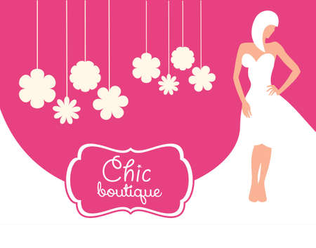 Trendy boutique poster. Pink background with a white wedding dress Illustration