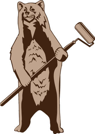 Bear grizzly street artist, graffiti style, vector illustration. Vector silhouette isolated on white background.