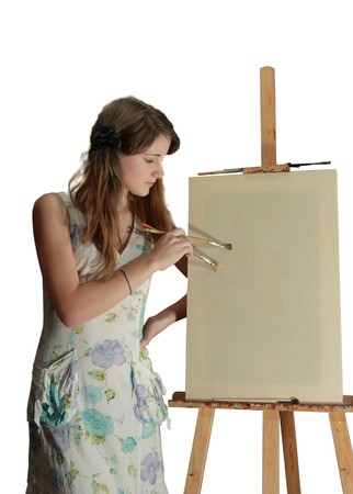 beauty teenager girl  painting on blank white canvas Stock Photo - 4445958