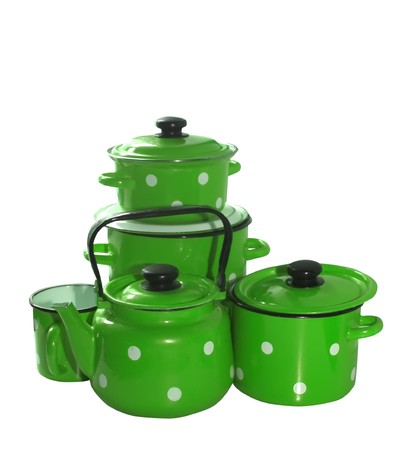 colored saucepans and  kettle . Isolate over white Stock Photo - 4445941