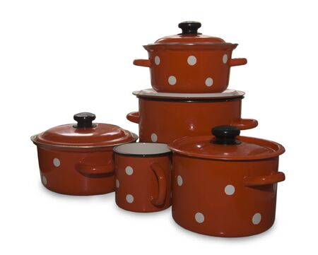 colored saucepans and  kettle . Isolate over white Stock Photo - 4445980