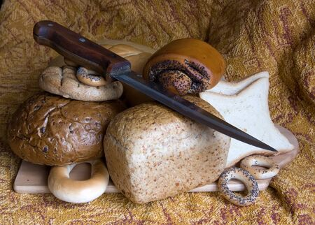 Freshly Baked Bread  and  sticker with wooden handle photo