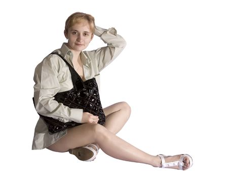 haversack: sitting woman with black haversack. Isolate over white