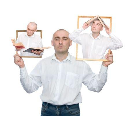 erudite adult men. three variant. Isolated over white photo