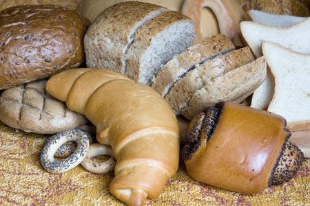 a different Group of various bread products  photo