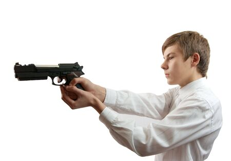 man with gun  against  the white background Stock Photo - 5670598