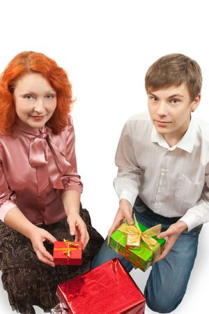 happy mom and smiling son celebrating xmas at home Stock Photo - 5670611