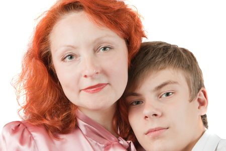 a lovely family couple. Mother and son. Isolated over white Stock Photo - 5670601