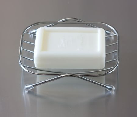 soap  in a soap dish against silver background Stock Photo - 5887802