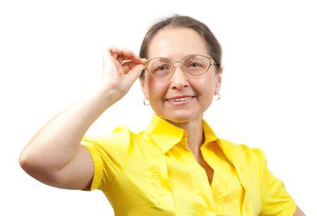 pr�voyance: Femmes �g�es heureuses dans des verres isol�s sur blanc