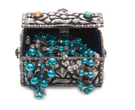 Metall treasure chest with valuables photo