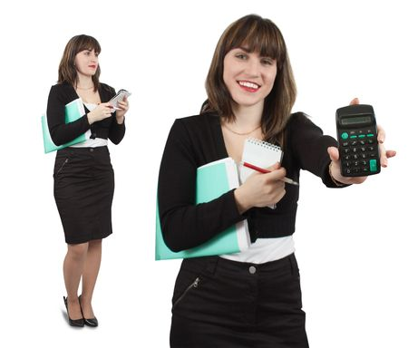 Collage of two girls in business outfit with  documents and calculator photo