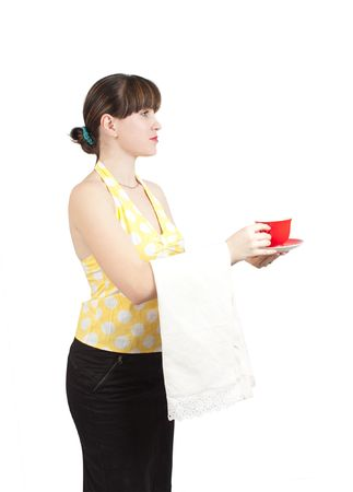 smiling waitress serving coffee on an isolated background photo