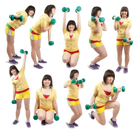 Collage of white smiling girls in gym wear exercising with weights over white photo