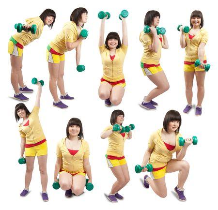 Collage van wit lachende meisjes in de sportschool slijtage oefenen met gewichten over Wit  Stockfoto