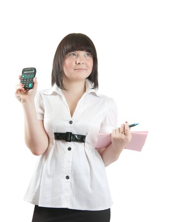 Young business girl with dociments and calculator. Isolated over white photo