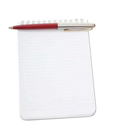 Blank notebook and pen on the white background Stock Photo - 6298818