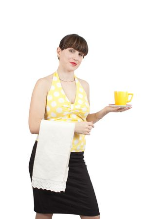 smiling waitress serving coffee on an isolated background Stock Photo - 6467372