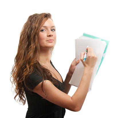 female  manager  writing something on empty documents , isolated on white  photo