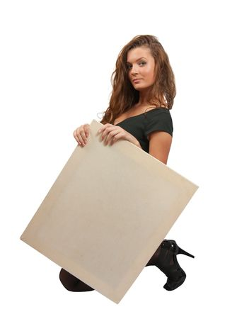 Standing long haired girl in holds an empty poster photo