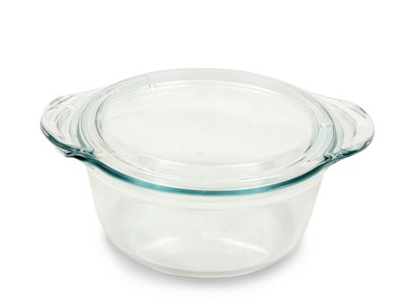 mini oven: glass dish for mini oven isolated over white Stock Photo
