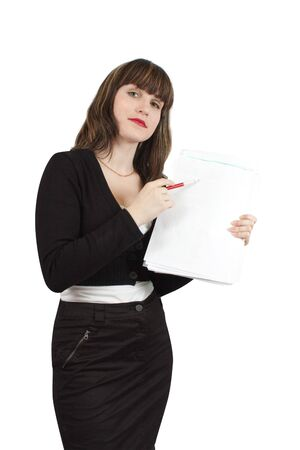 Beautiful girl in business outfit with  documents  over white photo