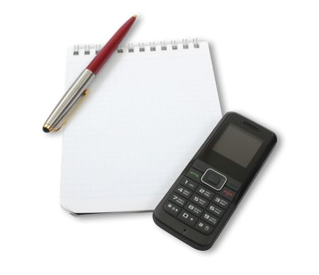 A blank notebook with a black phone and pen on top Stock Photo - 6690730