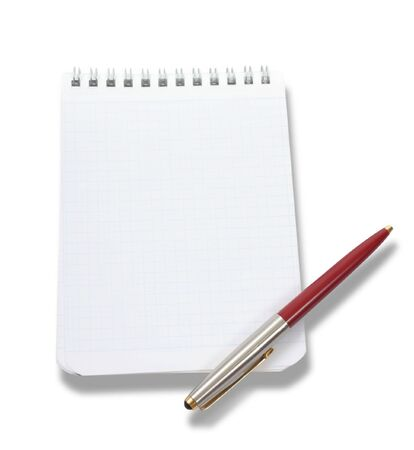 Blank notebook and pen on the white background Stock Photo - 6690755