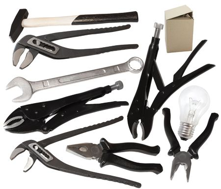 set of different tools isolated over white background
