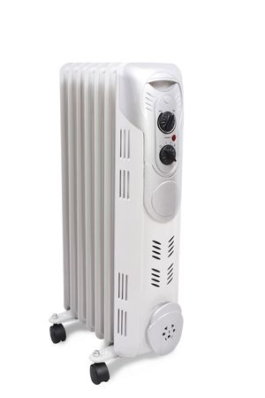 Home oil heater isolated over white in studio.  photo