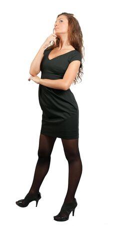 stilish: Stilish businesswoman  in black dress. Isolated on white Stock Photo