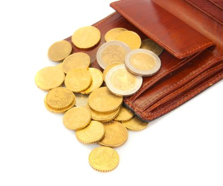 pochette: euro coins with  brown wallet on white