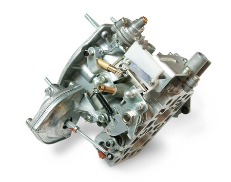 carburettor: Carburetor from car engine, isolated on white Stock Photo