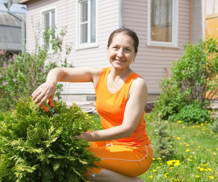 smiling woman in a greenhouse: senior  woman gardener with flowers outdoor in her garden