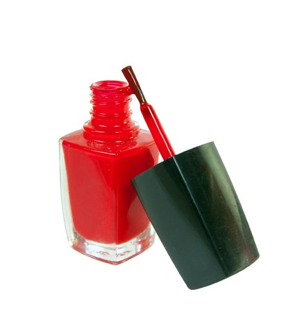 A bottle of red nail polish  Isolated on white background Stock Photo - 7019703