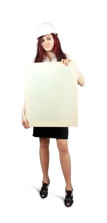 businesswoman  in business outfit pointing at blank canvas, over white background photo