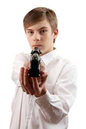 Armed agent over white background focus over boy Stock Photo - 7042364