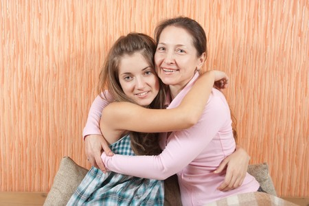 Portrait Of Mother and Young Daughter indoor photo