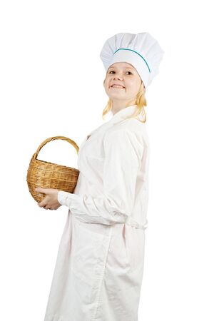 toque: cook woman in toque with wicker basket  over  white  background