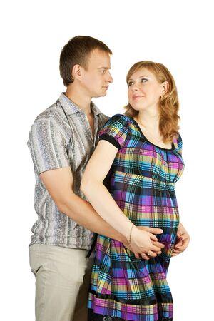 beatiful pregnant couple over white background Stock Photo - 7413482