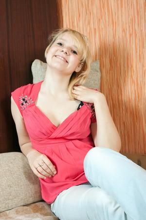 stilish: Stilish young girl on sofa at home