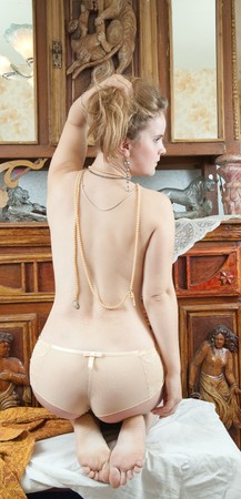 Naked beauty blond women over vintage interior Stock Photo - 10821681